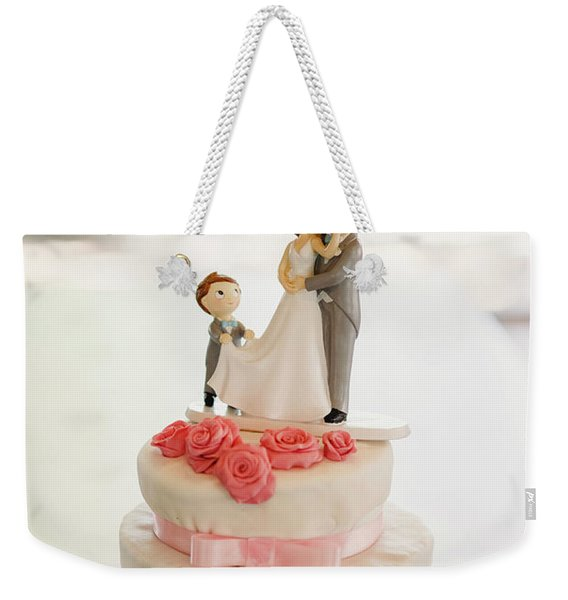 Desserts And Wedding Cake With Very Sweet Cupcakes At An Event. Weekender Tote Bag