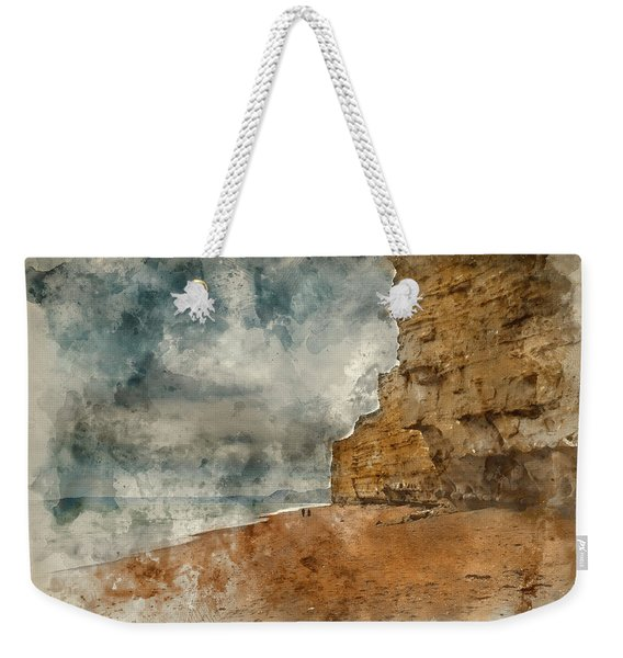 Digital Watercolour Painting Of Beautiful Vibrant Sunset Landsca Weekender Tote Bag