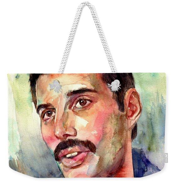 Freddie Mercury Watercolor Weekender Tote Bag