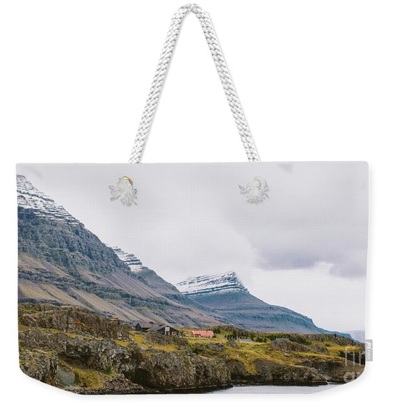 High Icelandic Or Scottish Mountain Landscape With High Peaks And Dramatic Colors Weekender Tote Bag