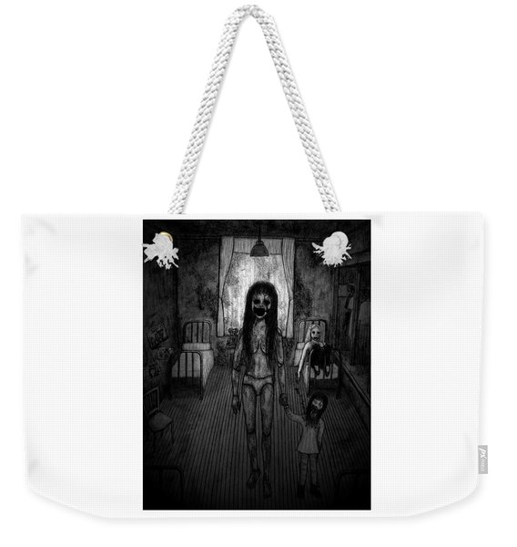 Weekender Tote Bag featuring the drawing Jessica And Her Broken Doll - Artwork by Ryan Nieves
