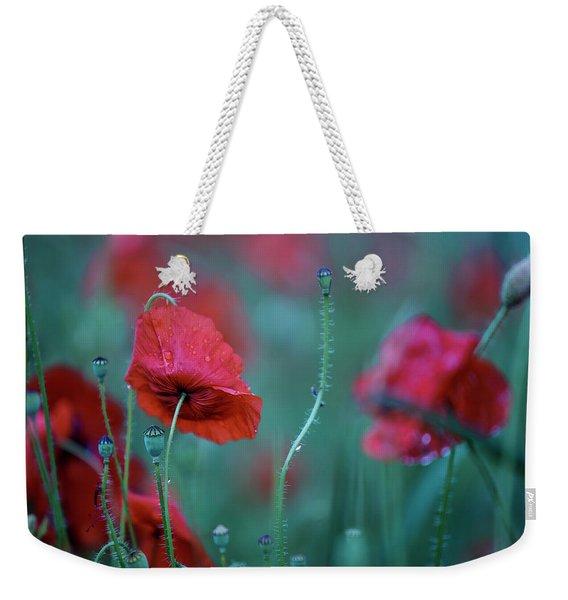 Red Corn Poppy Flowers Weekender Tote Bag