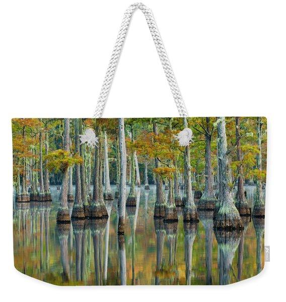 Reflection Of Bald Cypress Taxodium Weekender Tote Bag
