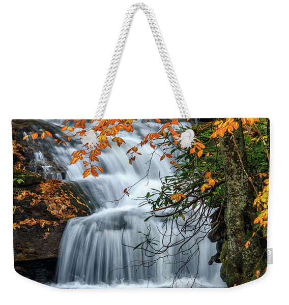Waterfall And Fall Color Weekender Tote Bag