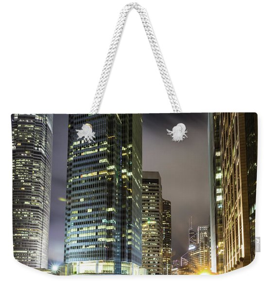 Hong Kong Night Rush Weekender Tote Bag