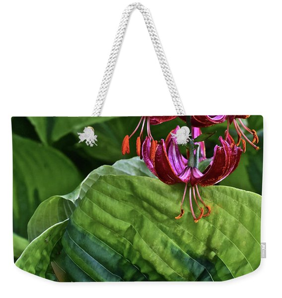2019 June At The Gardens Lily And Hosta Weekender Tote Bag
