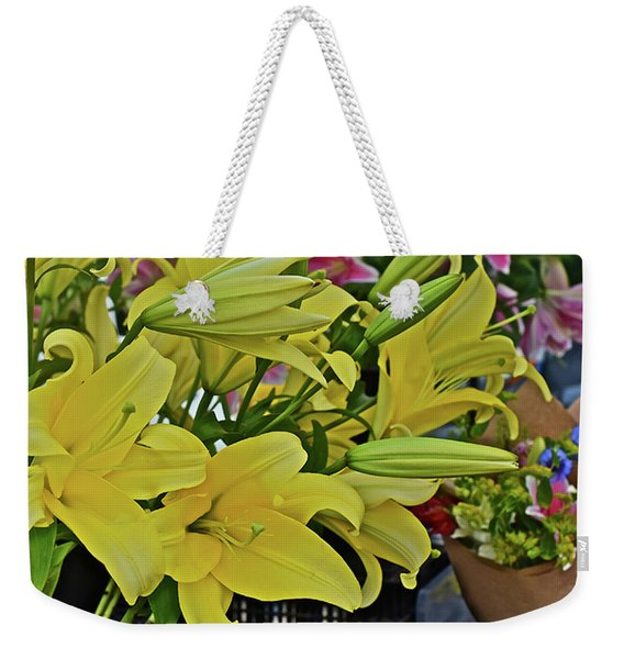 2019 Monona Farmers' Market July Yellow Lilies Weekender Tote Bag