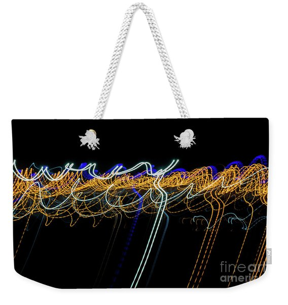 Colorful Light Painting With Circular Shapes And Abstract Black Background. Weekender Tote Bag