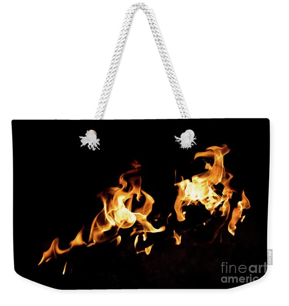 Flames In The Fire Of A Red And Yellow Barbecue. Weekender Tote Bag