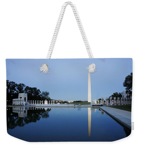 Reflection Of The Washington Monument In The Pool At Pool At The National Mall. Original Image From  Weekender Tote Bag