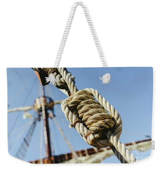 Rigging And Ropes On An Old Sailing Ship To Sail In Summer. Weekender Tote Bag