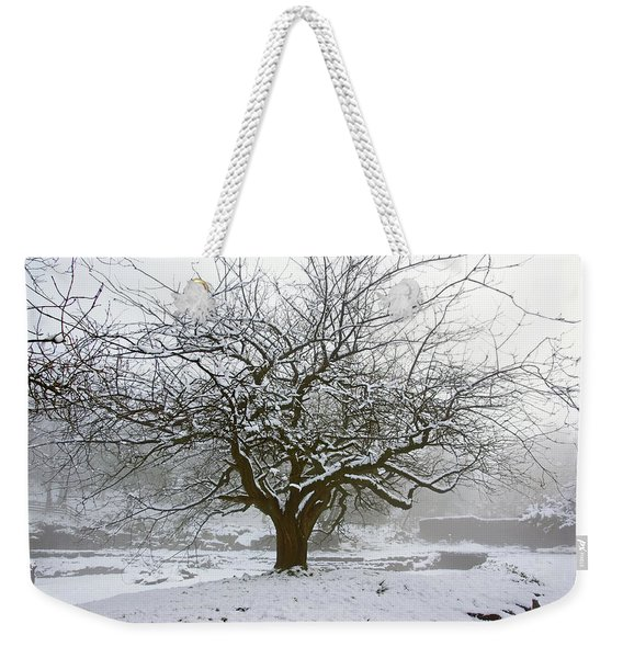 30/01/19  Rivington.  Japanese Pool. Snow Clad Tree. Weekender Tote Bag
