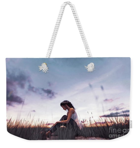 3d Illustration Of A Girl Sitting Alone In Grass Field Weekender Tote Bag