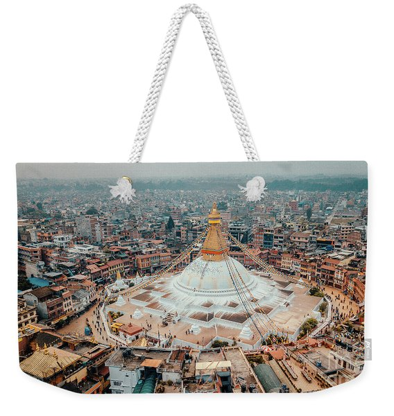 Stupa Temple Bodhnath Kathmandu, Nepal From Air October 12 2018 Weekender Tote Bag