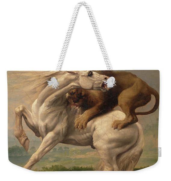 A Lion Attacking A Horse Weekender Tote Bag