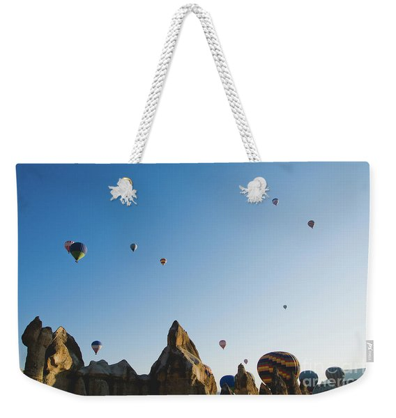 Colorful Balloons Flying Over Mountains And With Blue Sky Weekender Tote Bag