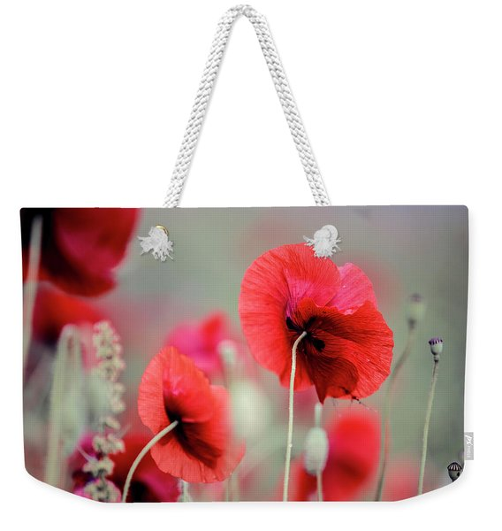 Red Corn Poppy Flowers Weekender Tote Bag