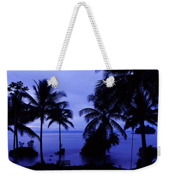 Silhouette Of Palm Trees On The Beach Weekender Tote Bag