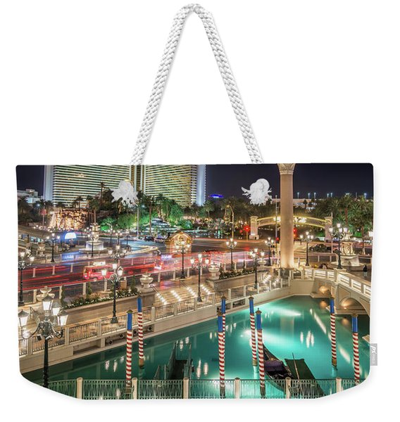 View Of The Venetian Hotel Resort And Casino Weekender Tote Bag