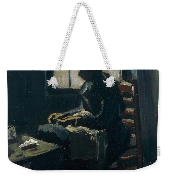 Woman Sewing Weekender Tote Bag