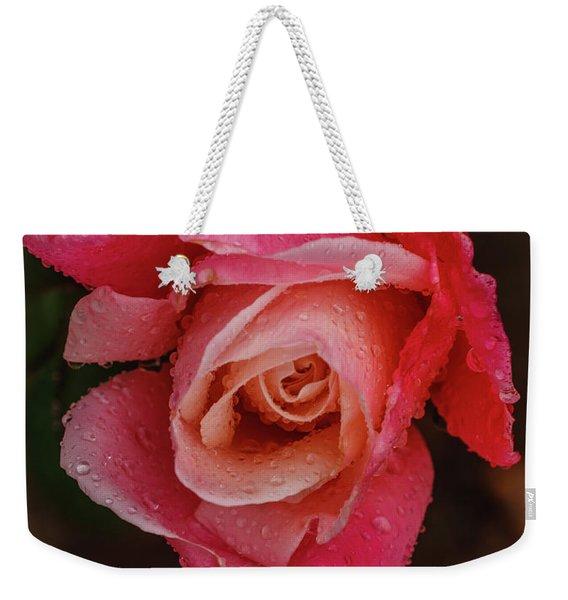 A Beautiful Wet Rose Weekender Tote Bag