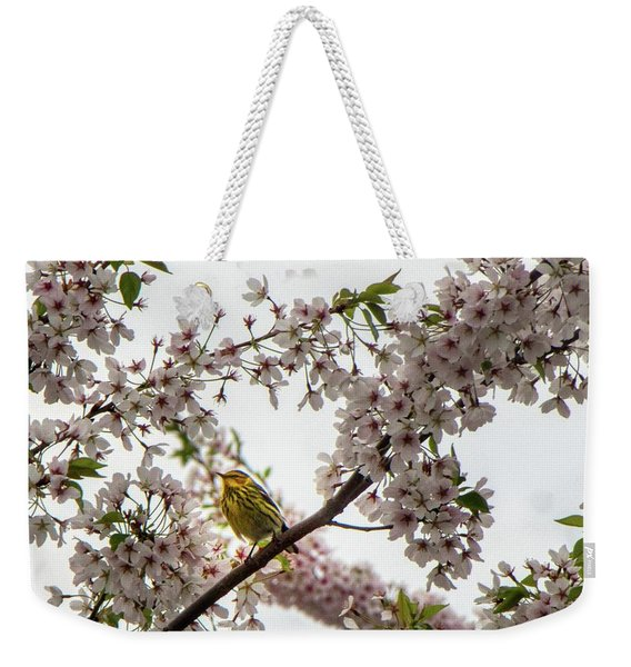 A Canary In A Cherry Tree  Weekender Tote Bag