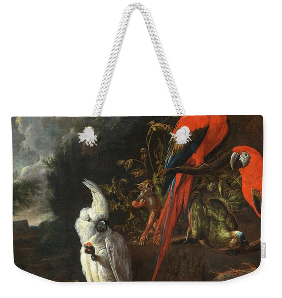 A Citron-crested Cockatoo, Two Red Macaws, A Green Parrot And A Marmoset, With Apples And Figs Weekender Tote Bag