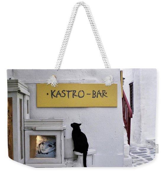 A Curious Cat In Mykonos Weekender Tote Bag