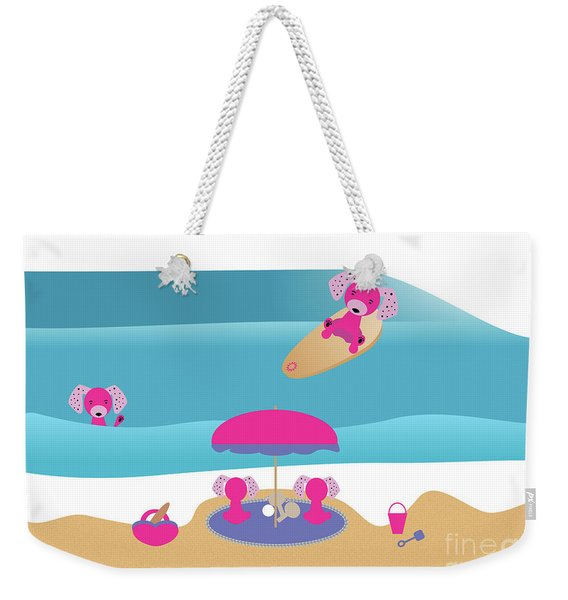 A Dog Family Surf Day Out Weekender Tote Bag