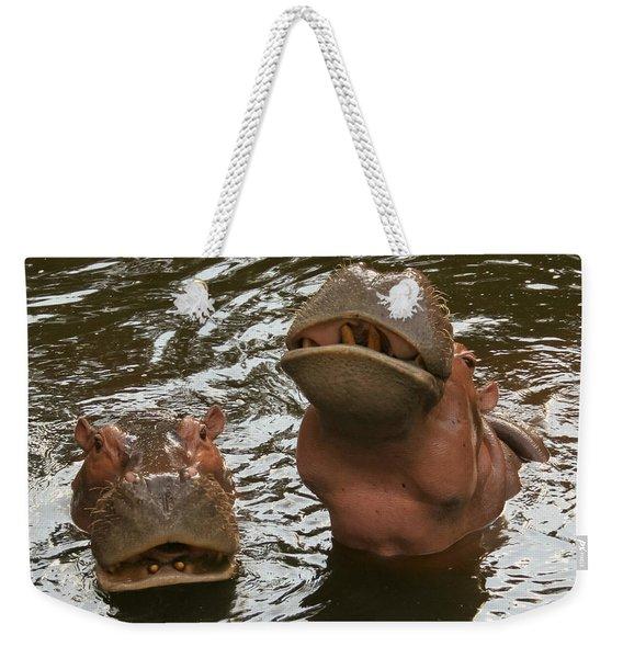 A Hippopotamus Pair In The Water Weekender Tote Bag