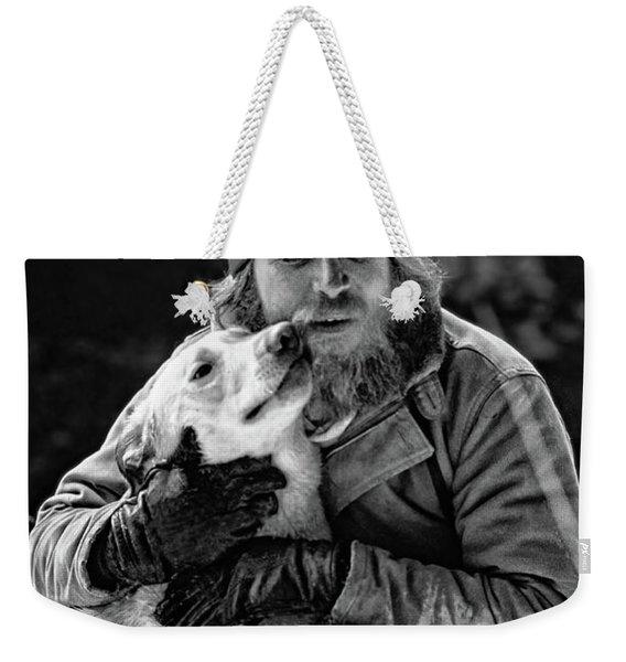 A Man And His Dog 3 Bw Weekender Tote Bag