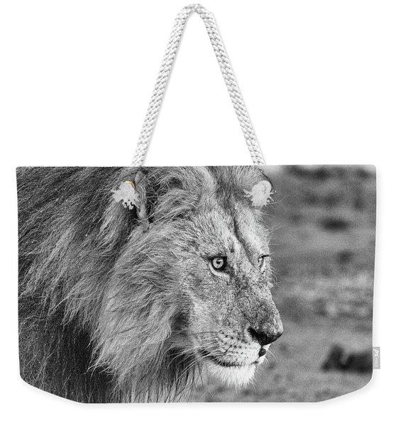 A Monochrome Male Lion Weekender Tote Bag
