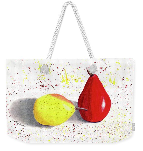 Weekender Tote Bag featuring the tapestry - textile A Pear Of Friends by Rich Stedman