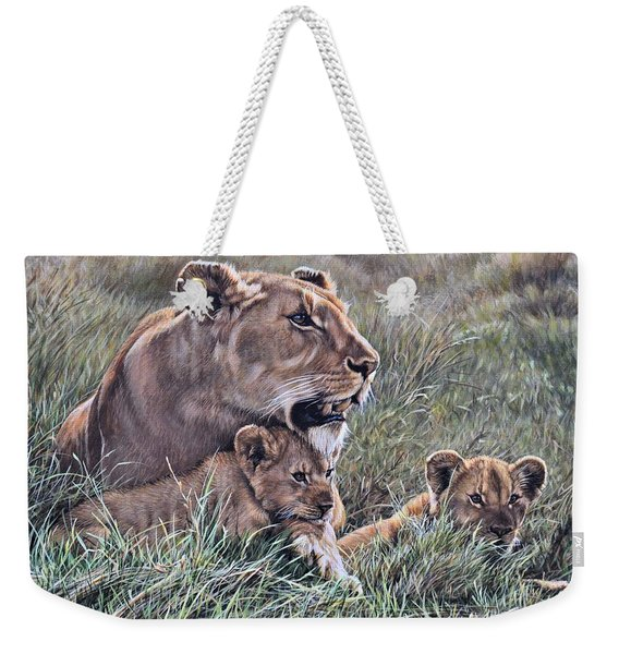 Weekender Tote Bag featuring the painting A Quiet Moment Lioness And Lion Cubs by Alan M Hunt