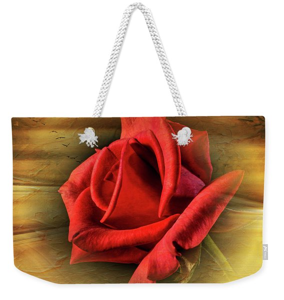 A Red Rose On Gold Weekender Tote Bag