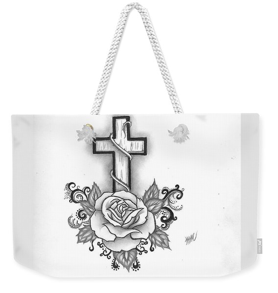 A Rose And A Cross Weekender Tote Bag