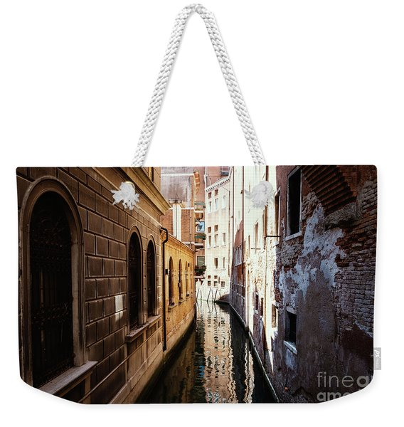 A Shadow In The Venetian Noon Narrow Canal Weekender Tote Bag