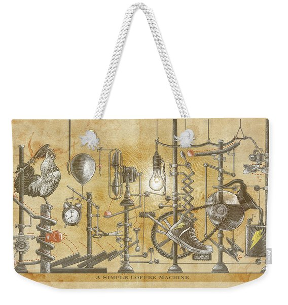 Weekender Tote Bag featuring the drawing A Simple Coffee Machine by Clint Hansen