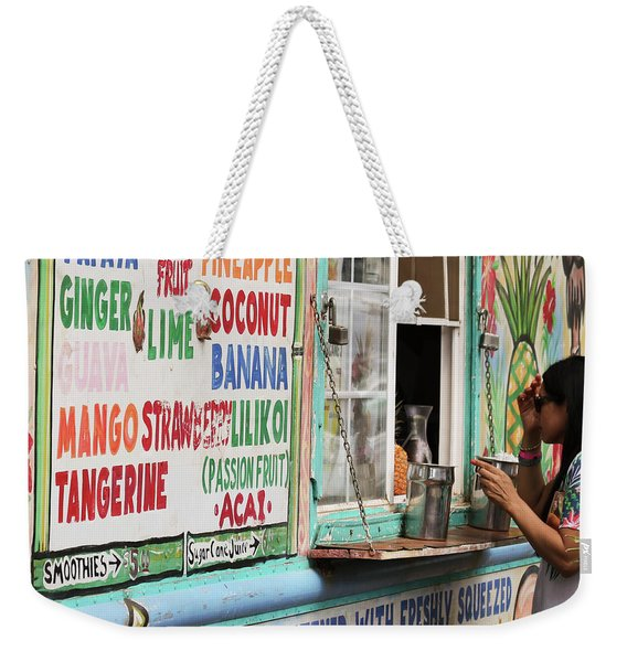 A Smoothie Truck At A Roadside Fruit Stand, Maui, Hawaii Weekender Tote Bag
