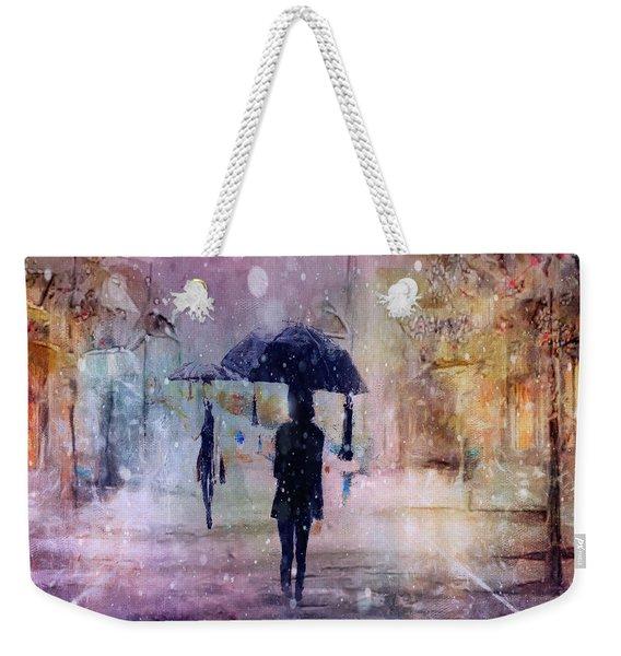 A Snowy Christmas Weekender Tote Bag