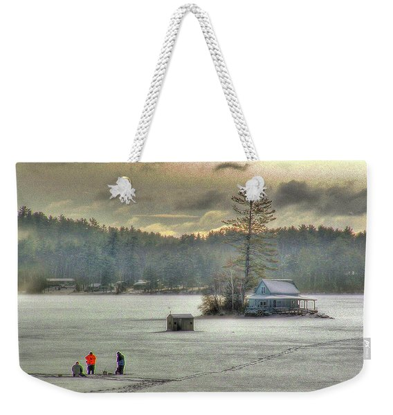 Weekender Tote Bag featuring the photograph A Warm Glow On A Cool Scene by Wayne King