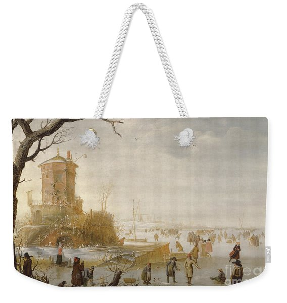 A Winter Scene With Figures On The Ice Weekender Tote Bag