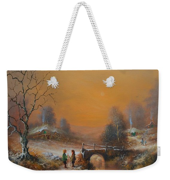A Winters Tale Snow Arrives In The Shire Weekender Tote Bag