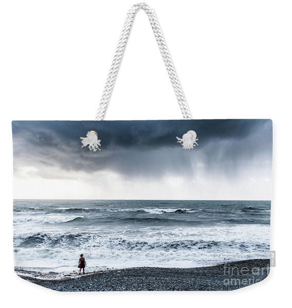 A Woman In The Sea On A Stormy Day  Weekender Tote Bag