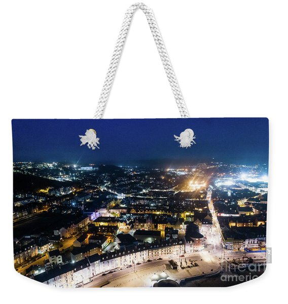 Aberystwyth At Night From The Air Weekender Tote Bag