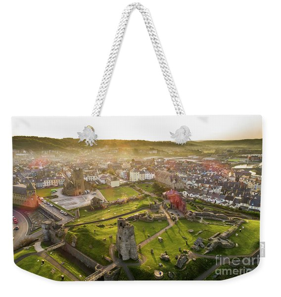 Aberystwyth Castle From The Air At Dawn Weekender Tote Bag