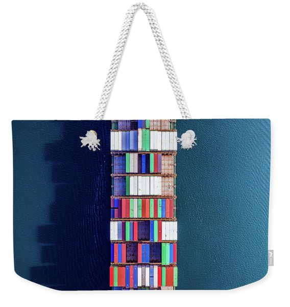 Above The Cargo Ship Weekender Tote Bag