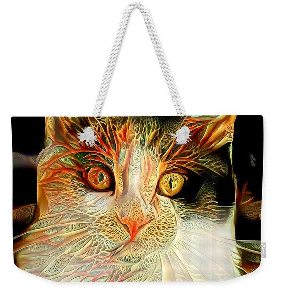Weekender Tote Bag featuring the digital art Abstract Calico Cat by Don Northup