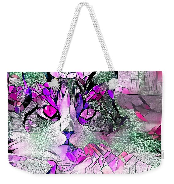Abstract Calico Cat Purple Glass Weekender Tote Bag