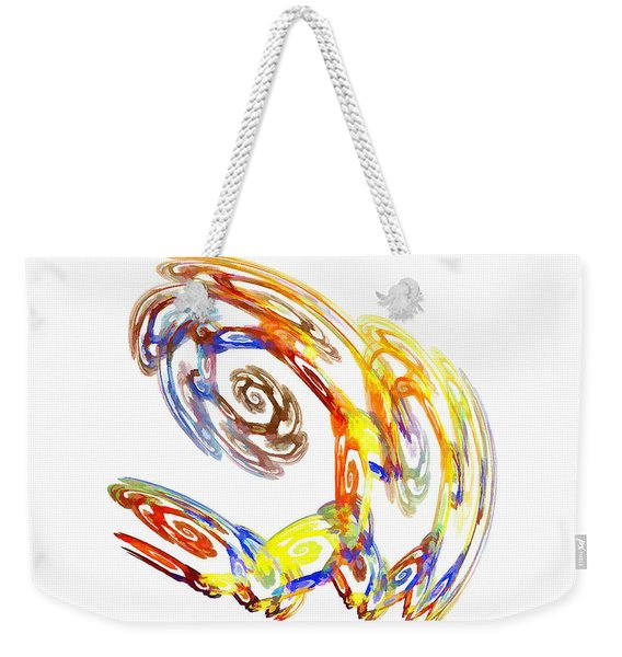Weekender Tote Bag featuring the digital art Abstract Crab Yellow by Don Northup